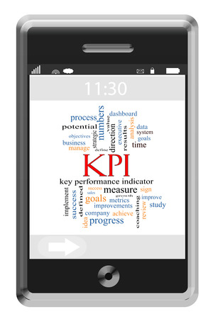 KPI Word Cloud Concept on a Touchscreen Phone with great terms such as key, performance, indicator and more. photo