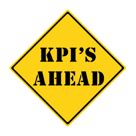 indicators: A yellow and black diamond shaped road sign with the words KPIs AHEAD making a great concept. Stock Photo