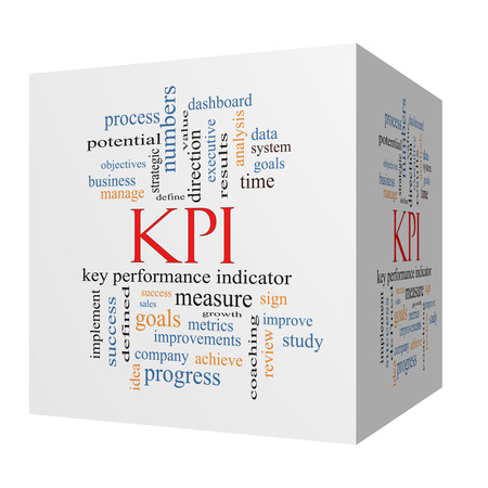 KPI 3D cube Word Cloud Concept with great terms such as key, performance, indicators and more. photo