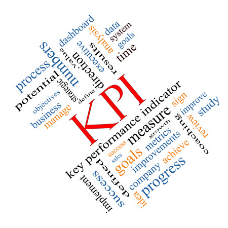 KPI Word Cloud Concept angled with great terms such as key, performance, indicators and more. photo