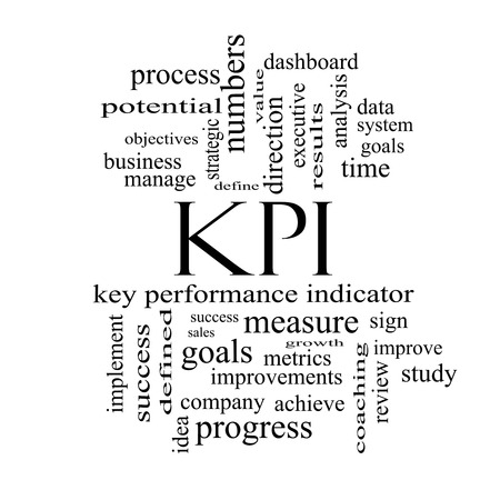 KPI Word Cloud Concept in black and white with great terms such as key, performance, indicators and more. photo
