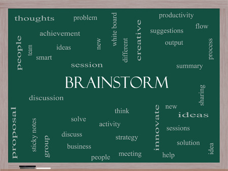 Brainstorm Word Cloud Concept on a Blackboard with great terms such as ideas, flow, new and more.