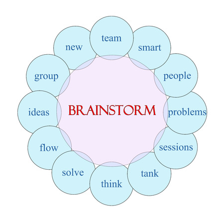 solves: Brainstorm concept circular diagram in pink and blue with great terms such as team, smart, ideas and more.