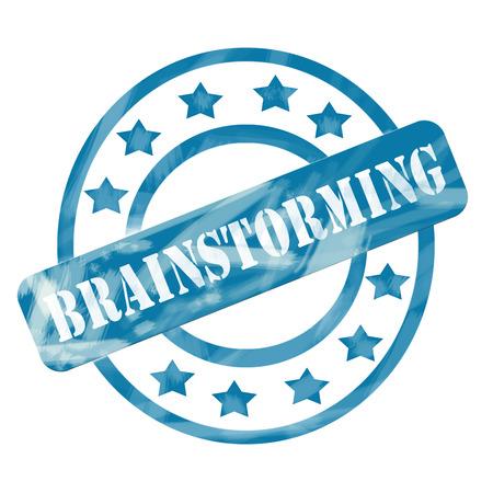 Een blauw verweerde roughed up cirkels en sterren stempel ontwerp met het woord brainstormen op het maken van een geweldig concept.