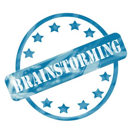 Een blauwe verweerde opgeruwd cirkel en sterren stempel met het woord Brainstormen over het maken van een geweldig concept. Stockfoto