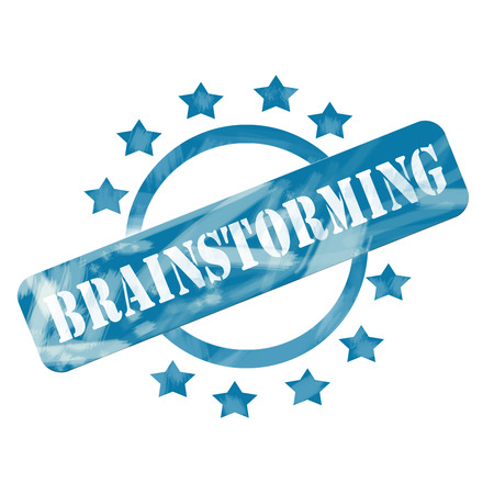 Een blauw verweerde roughed up cirkel en sterren stempel ontwerp met het woord brainstormen op het maken van een geweldig concept. Stockfoto