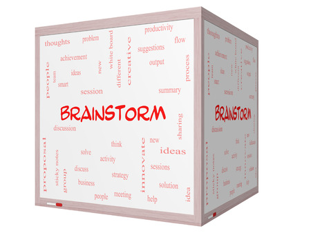 Brainstorm Word Cloud Concept on a 3D cube Whiteboard with great terms such as ideas, flow, new and more.