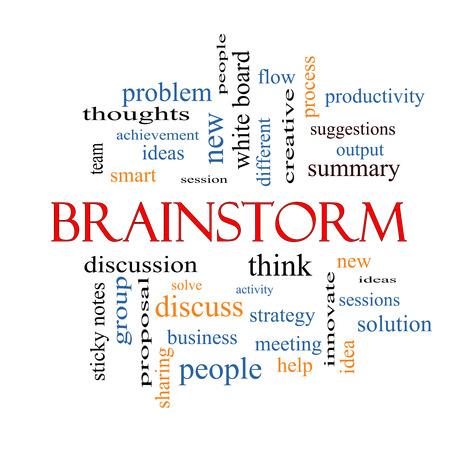 Brainstorm Word Cloud Concept met grote termen als ideeën, stroom, nieuwe en meer.