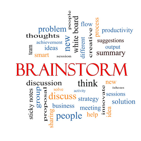 Brainstorm Word Cloud Concept with great terms such as ideas, flow, new and more.