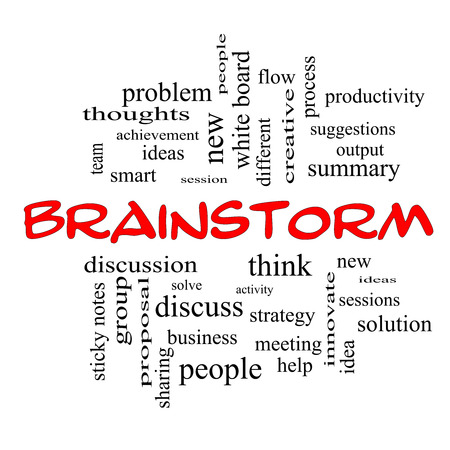 Brainstorm Word Cloud Concept in red caps with great terms such as ideas, flow, new and more. 版權商用圖片