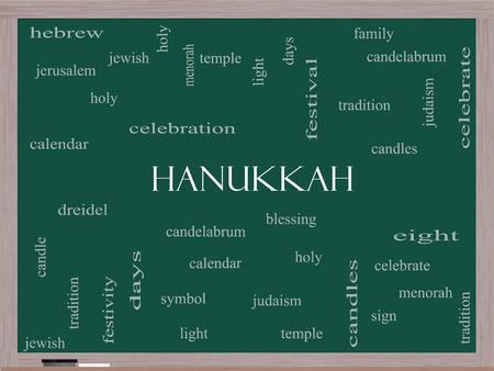 Hanukkah Word Cloud Concept on a Blackboard with great terms such as dreidel, jewish, holy and more. photo