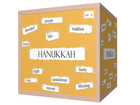 Hanukkah 3D cube Corkboard Word Concept with great terms such as dreidel, jewish, temple and more. photo