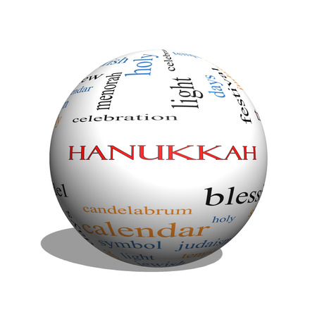 Hanukkah Word Cloud Concept In Red Caps With Great Terms Such ...