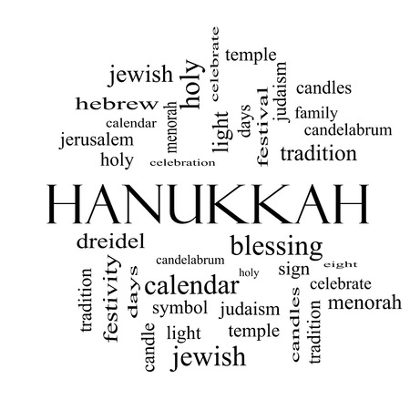 Hanukkah Word Cloud Concept in black and white with great terms such as dreidel, jewish, holy and more. photo