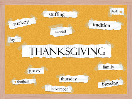 Thanksgiving Corkboard Word Concept with great terms such as turkey, family, harvest and more.