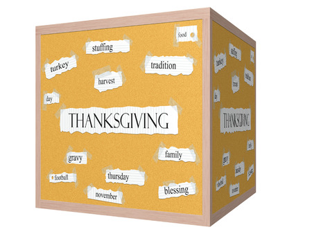 Thanksgiving 3D cube Corkboard Word Concept with great terms such as turkey, family, harvest and more.