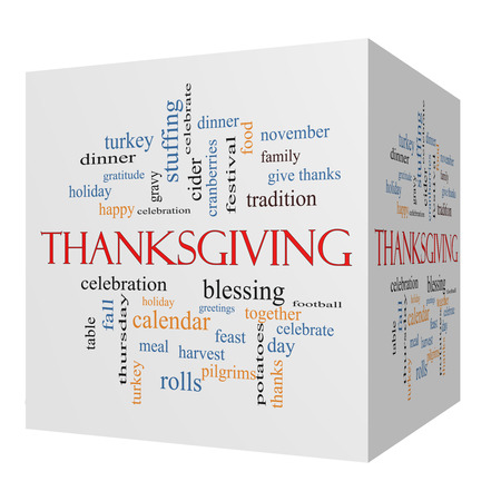 Thanksgiving 3D cube Word Cloud Concept with great terms such as dinner, harvest, holiday, turkey and more.