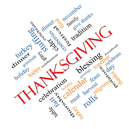 Thanksgiving Word Cloud Concept angled with great terms such as dinner, harvest, holiday, turkey and more. photo