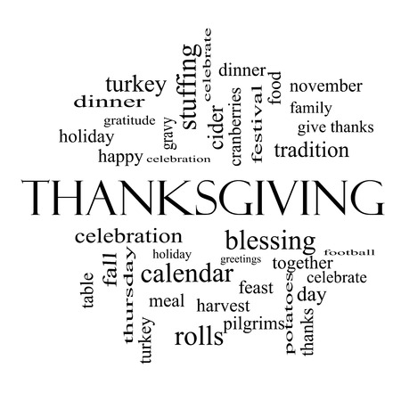 Thanksgiving Word Cloud Concept in black and white with great terms such as dinner, harvest, holiday, turkey and more.