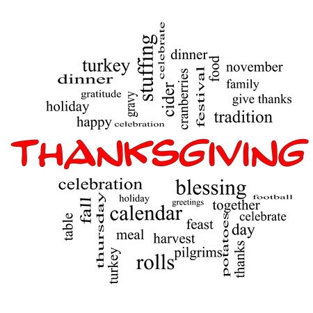 word: Thanksgiving Word Cloud Concept in red caps with great terms such as dinner, harvest, holiday, turkey and more.