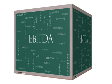 EBITDA Word Cloud Concept on a 3D cube Blackboard with great terms such as earnings, before, taxes, interest and more.