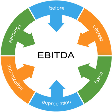 depreciation: EBITDA Word Circle wheel Concept with great terms such as earnings, depreciation, taxes and more.