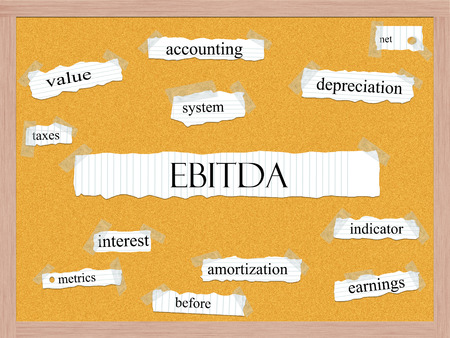 metrics: EBITDA Corkboard Word Concept with great terms such as earnings, taxes, interest and more. Stock Photo