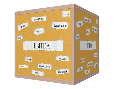 EBITDA 3D cube Corkboard Word Concept with great terms such as earnings, taxes, interest and more.