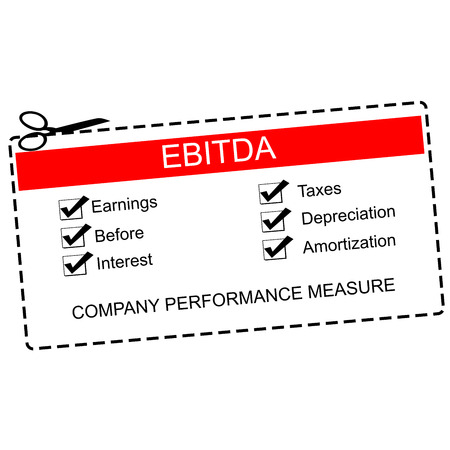 EBITDA Red Coupon Concept with great terms such as earnings, taxes, interest and more. Фото со стока