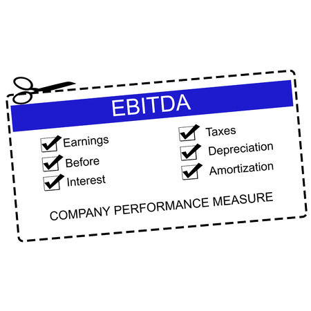 EBITDA Blue Coupon Concept with great terms such as earnings, taxes, interest and more. 版權商用圖片