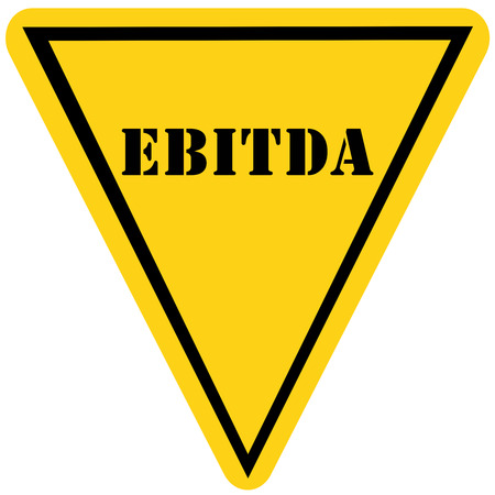triangle shaped: A yellow and black triangle shaped road sign with the word EBITDA making a great concept.