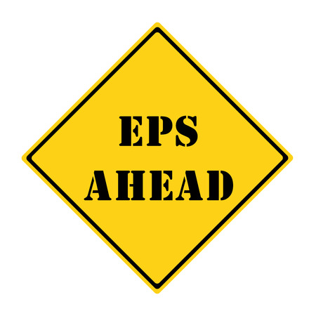 A yellow and black diamond shaped road sign with the words EPS AHEAD making a great concept.