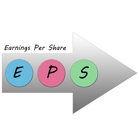 EPS colorful Arrow Concept for earnings per share.