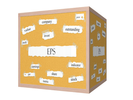 EPS 3D Corkboard Word Concept with great terms such as earnings, per, share, stock and more. Stock Photo