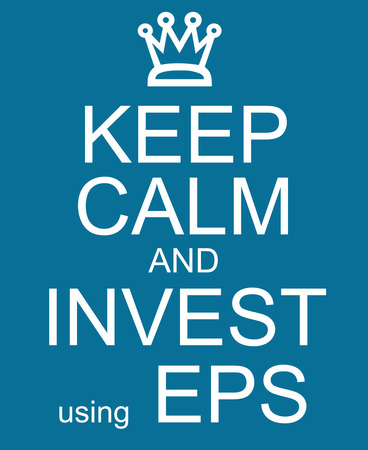 Keep Calm and Invest Using EPS making a great earnings per share concept Фото со стока