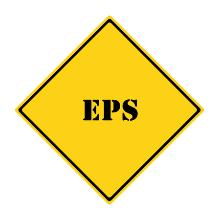 A yellow and black diamond shaped road sign with the word EPS making a great concept.