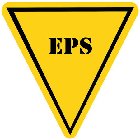 triangle shaped: A yellow and black triangle shaped road sign with the word EPS making a great concept.