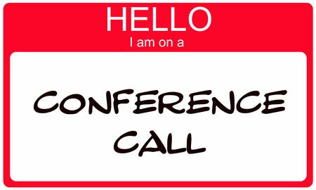 赤こんにちは私は素晴らしいコンセプト電話会議名前シール。