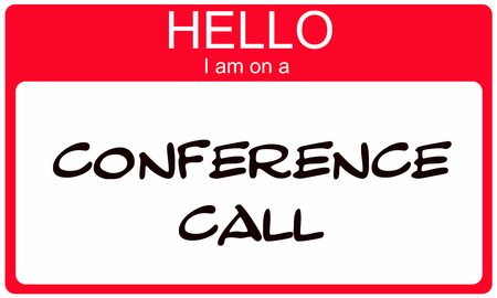 Red Hello I am on a Conference Call Name Tag Sticker making a great concept.