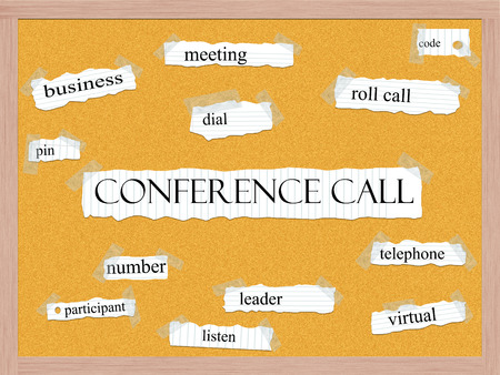 Conference Call Corkboard Word Concept with great terms such as code, pin, roll, call and more.
