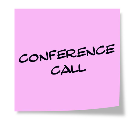 Conference Call Pink Sticky paper square note making a great concept.