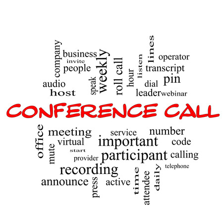 Conference Call Word Cloud Concept in red caps with great terms such as business, people, leader, audio and more. Stock Photo