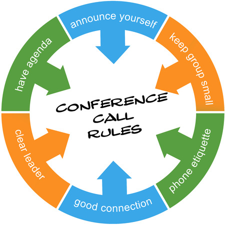 Conference Call Rules Scribbled Word Circle Concept with great terms such as agenda, leader, etiquette and more.