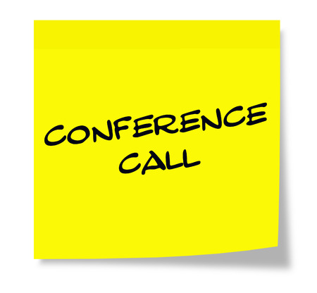 Conference Call Yellow Sticky paper square note making a great concept. 版權商用圖片