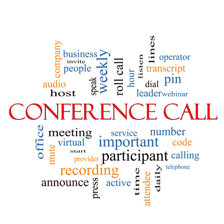 Conference Call Word Cloud Concept with great terms such as business, people, leader, audio and more. photo