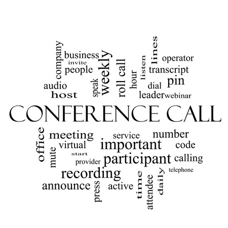 Conference Call Word Cloud Concept in black and white with great terms such as business, people, leader, audio and more.