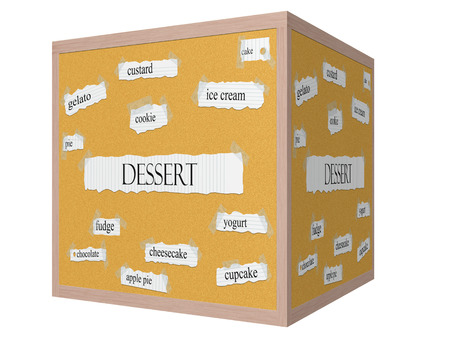 Dessert 3D cube Corkboard Word Concept with great terms such as custard, gelato, cake and more.