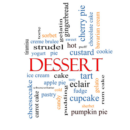 Dessert Word Cloud Concept with great terms such as sweet, cake, ice cream, pie and more. photo