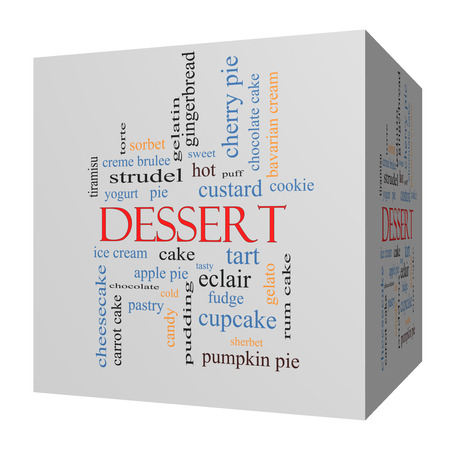 ice cream chocolate: Dessert 3D cube Word Cloud Concept with great terms such as sweet, cake, ice cream, pie and more.