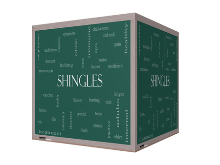complications: Shingles Word Cloud Concept on a 3D cube Blackboard with great terms such as virus, itching, vaccine, rash and more. Stock Photo